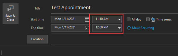 Shorten appointments and meetings in Microsoft Outlook B